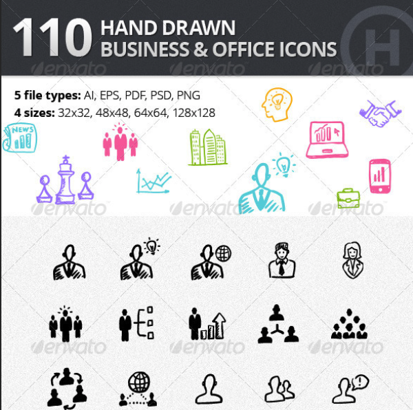 110 Hand-drawn Business and Office Icons by heloholo | GraphicRiver