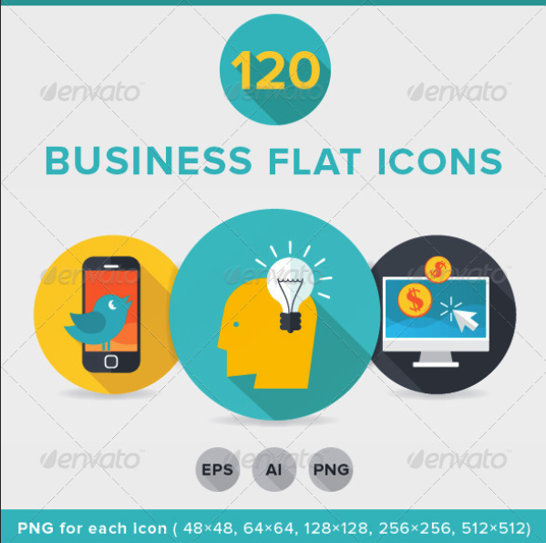 120 Business Flat Icons by iconsoul | GraphicRiver