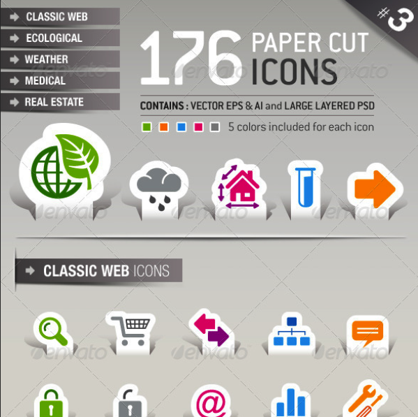176 Papercut Icons by sharpnose | GraphicRiver