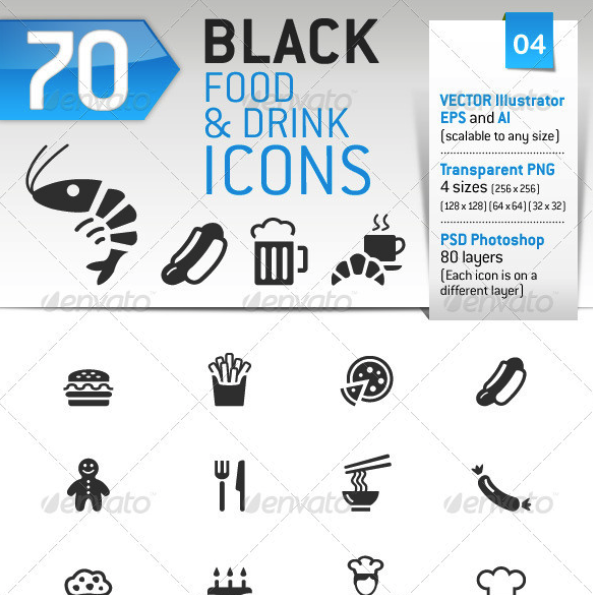 70 Food and Drink Icons by sharpnose | GraphicRiver