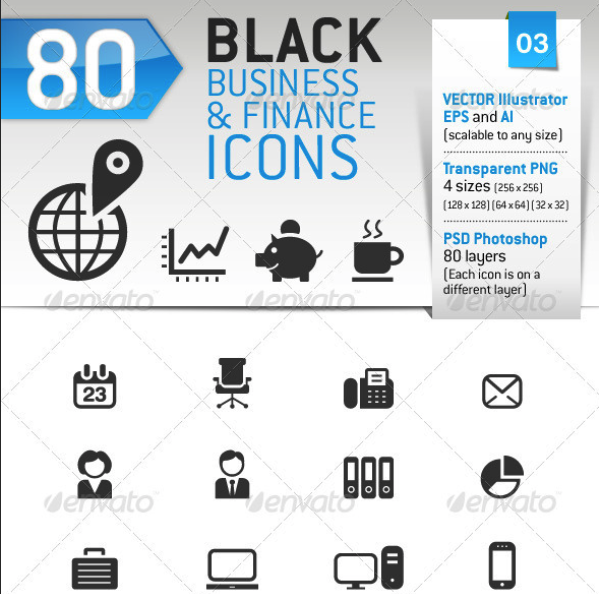 80 Black Business and Finance Icons by sharpnose | GraphicRiver
