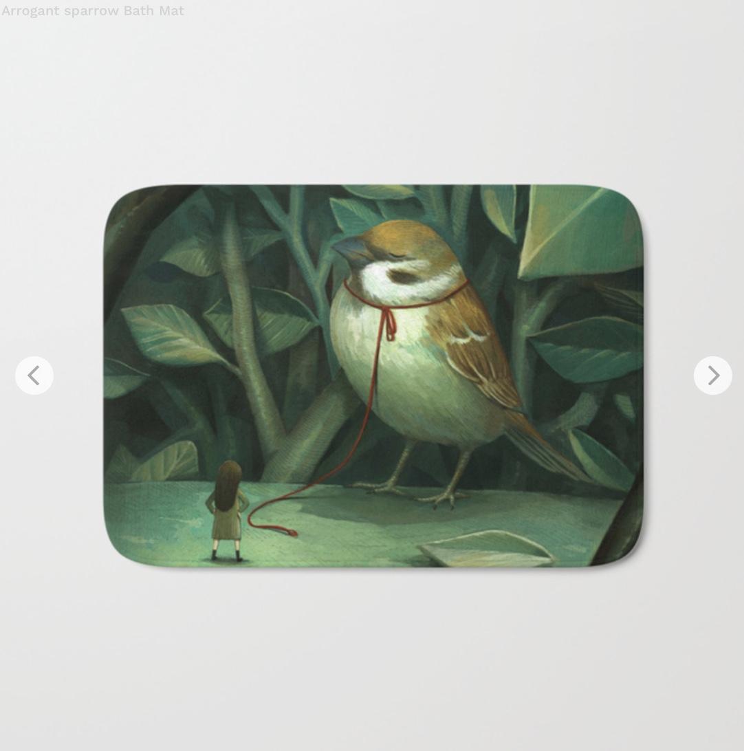 Arrogant sparrow Bath Mat by sungwon   Society6