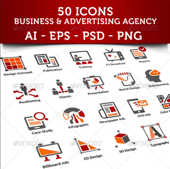 Business And Advertising Agency Icons by MaxVectors | GraphicRiver