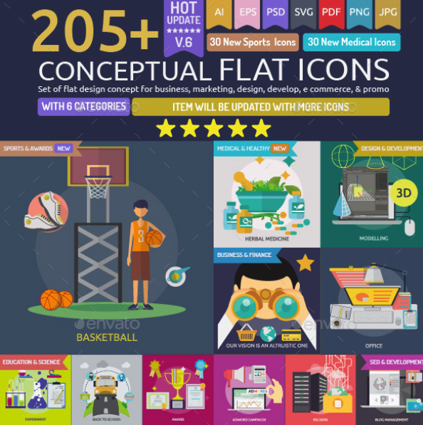 Conceptual Flat Icons by Graphiqa | GraphicRiver