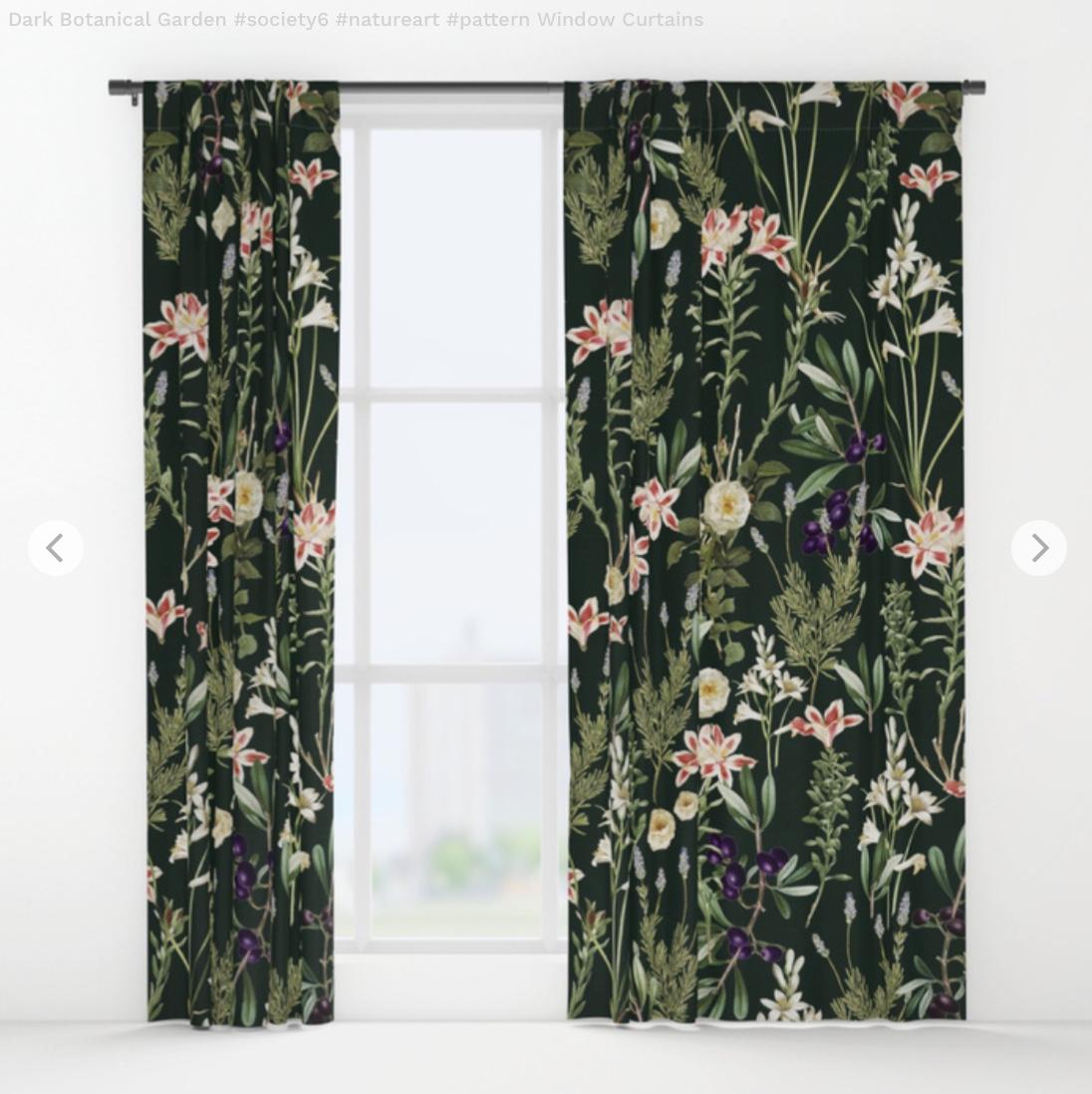 Dark Botanical Garden - pattern Window Curtains by 83oranges   Society6