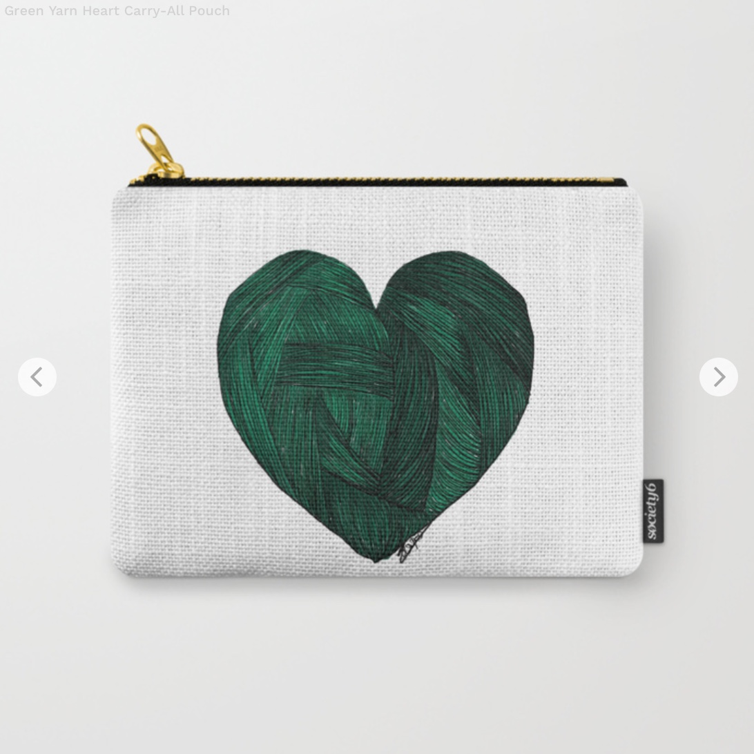 Green Yarn Heart Carry-All Pouch by sparklyunicorn   Society6