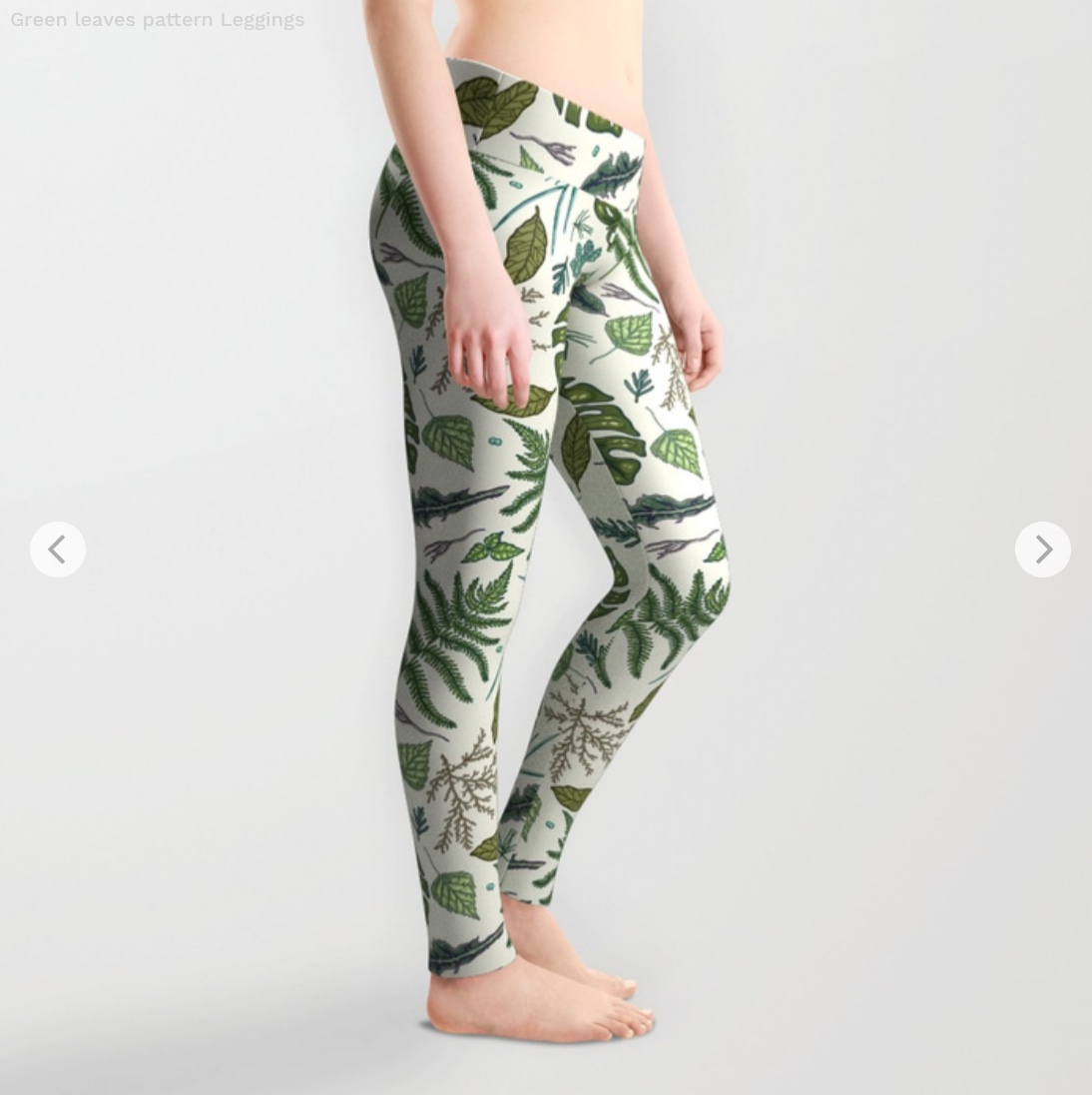 Green leaves pattern Leggings by smalldrawing   Society6