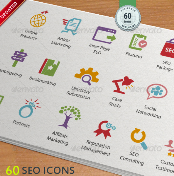 SEO Services Icons by kh2838 | GraphicRiver