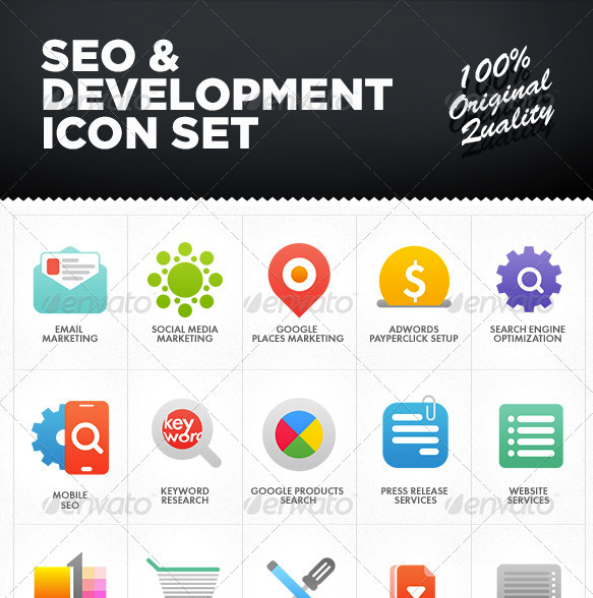 SEO & Development Icon Set by MikeKondrat | GraphicRiver