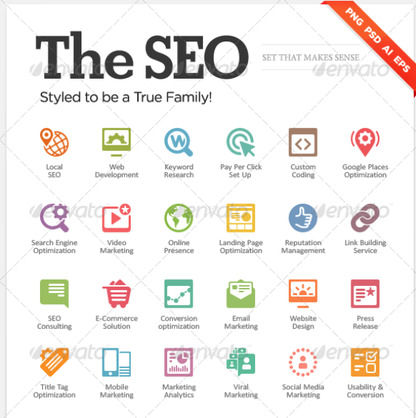 "Seo icons for web design ""The SEO"" by MikeKondrat 
