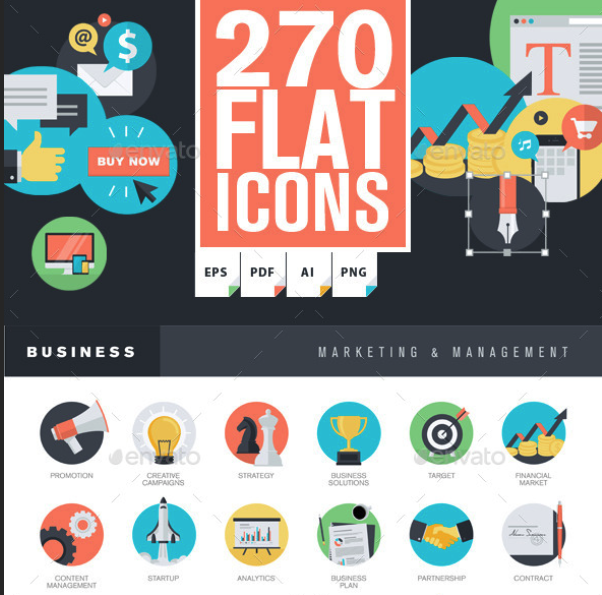 Set of Flat Design Icons by PureSolution | GraphicRiver