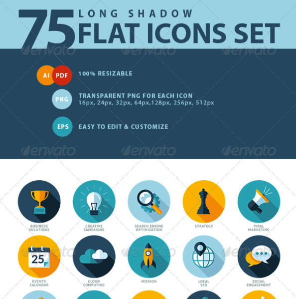 Set of Flat Design SEO Services Icons by PureSolution | GraphicRiver