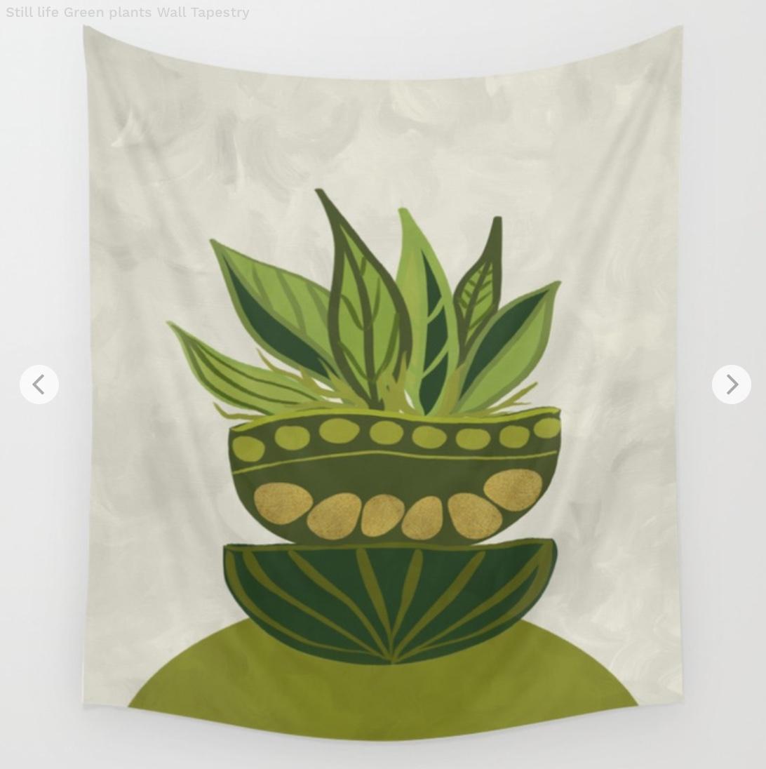 Still life Green plants Wall Tapestry by vivigonzalezart   Society6