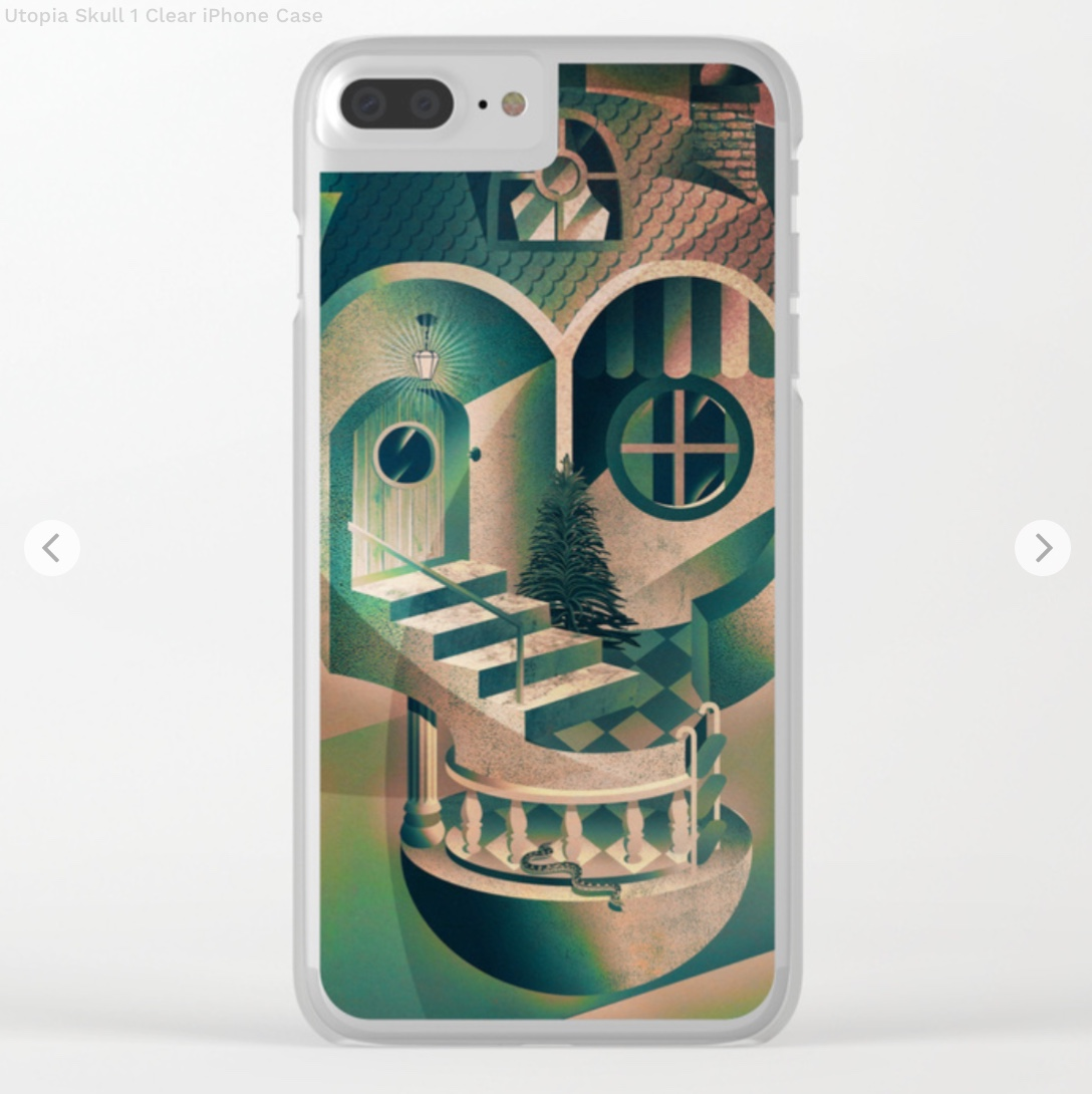 Utopia Skull 1 Clear iPhone Case by aligulec   Society6