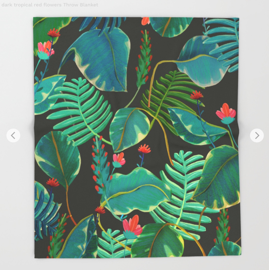 dark tropical red flowers Throw Blanket by franciscomffonseca   Society6