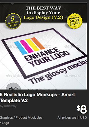 5 Realistic Logo Mockups - Smart Template V.2  by ranfirefly | GraphicRiver
