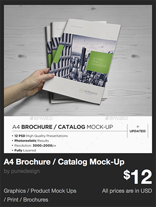 A4 Brochure / Catalog Mock-Up by punedesign | GraphicRiver