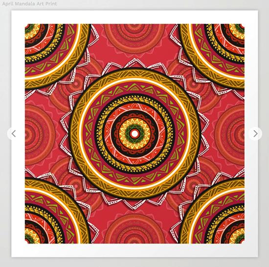 April Mandala Art Print by angeldecuir | Society6