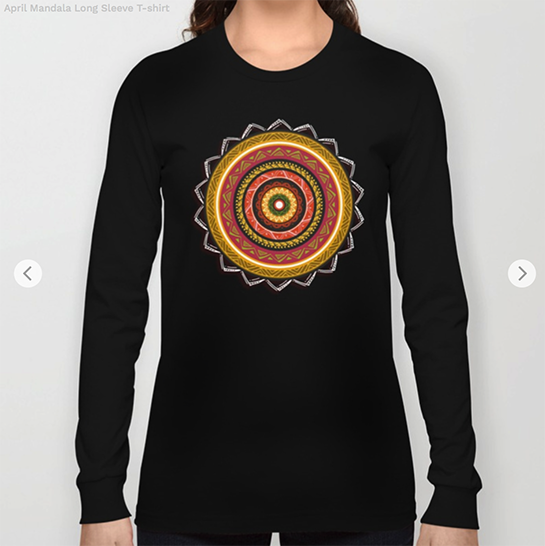 April Mandala Long Sleeve T-shirt by angeldecuir | Society6
