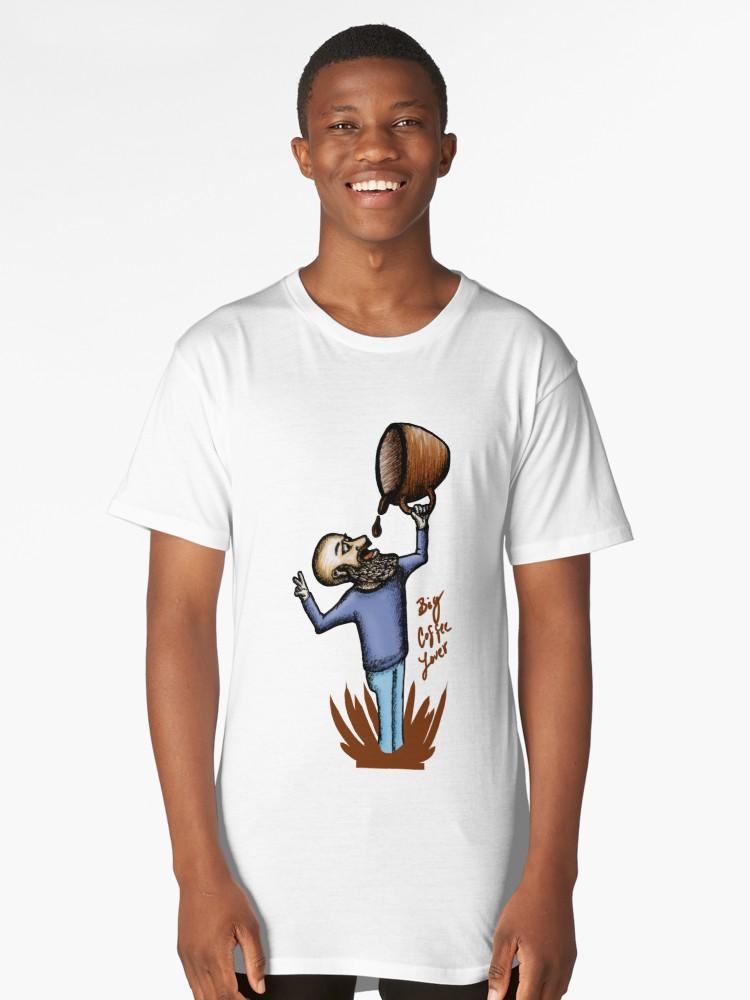 Camisetas largas «Big Coffee Lover» de angeldecuir | Redbubble