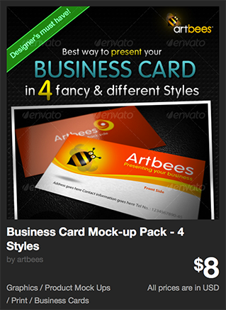 Business Card Mock-up Pack - 4 Styles by artbees | GraphicRiver