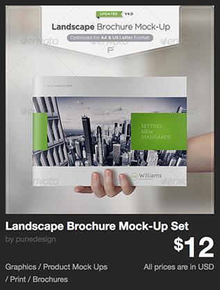 Landscape Brochure Mock-Up Set by punedesign | GraphicRiver
