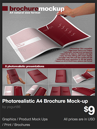 Photorealistic A4 Brochure Mock-up by yogurt86 | GraphicRiver