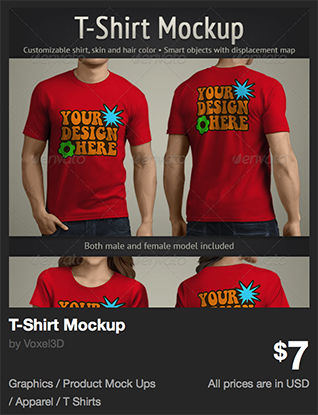 T-Shirt Mockup by Voxel3D | GraphicRiver
