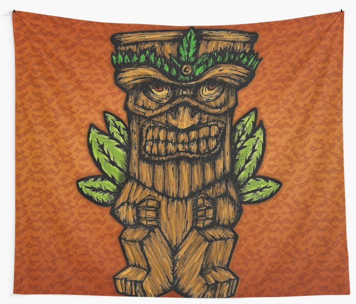 Telas decorativas «Tiki monster» de angeldecuir | Redbubble