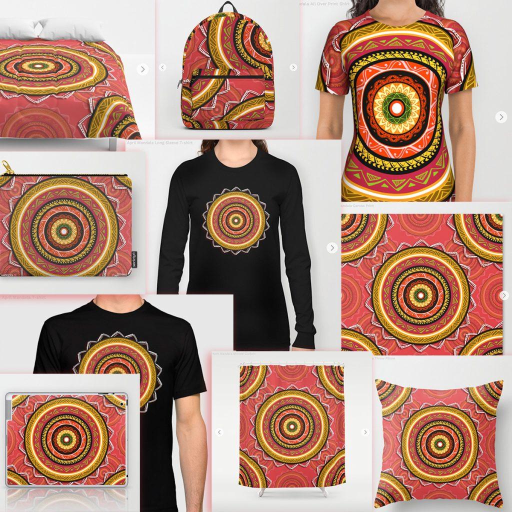 April Mandala Art Prints para tienda online Society6