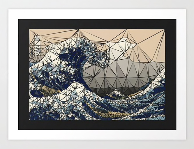 Lowpoly - The great wave of K Art Print by angeldecuir | Society6