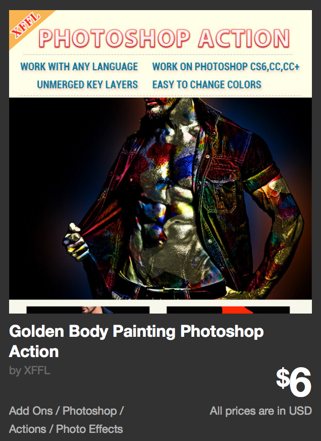 Golden Body Painting Photoshop Action by XFFL | GraphicRiver