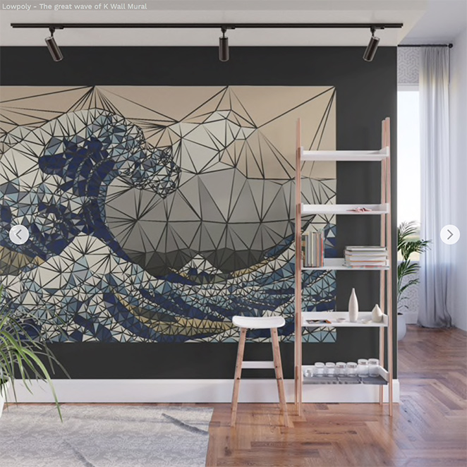 Wall Mural Lowpoly - The great wave of K by Angel Decuir | Soiciety6