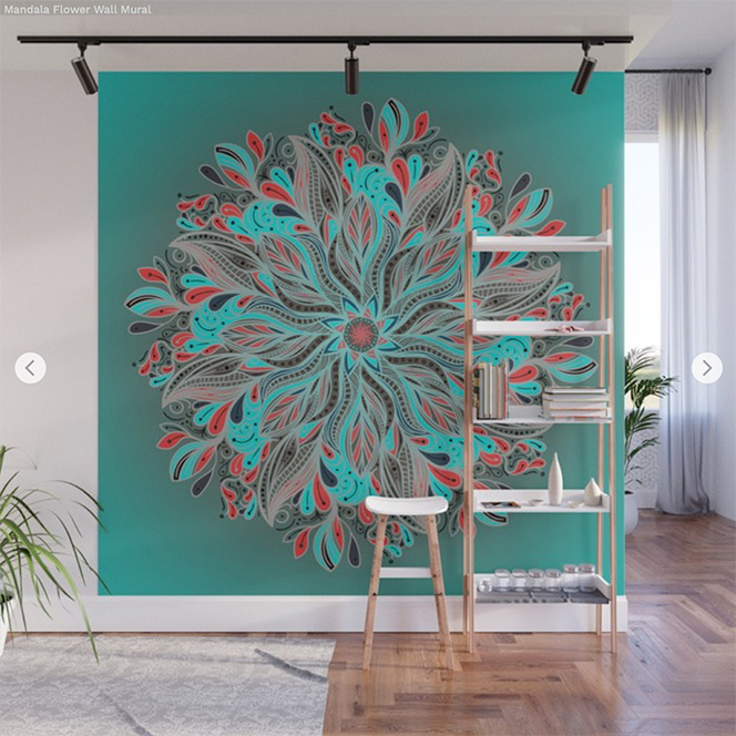 Wall Mural Mandala Flower by Angel Decuir | Society6