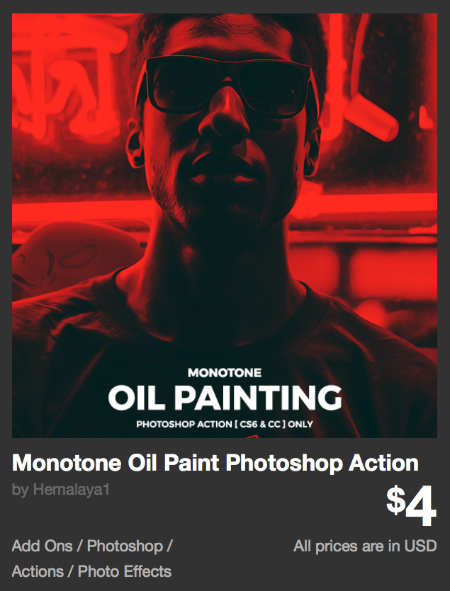 Monotone Oil Paint Photoshop Action by Hemalaya1 | GraphicRiver