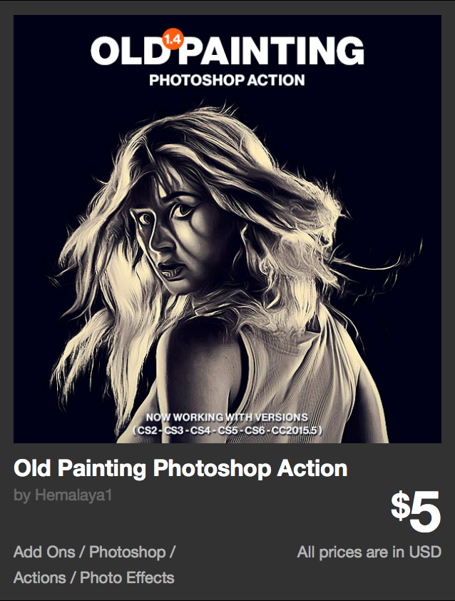 Old Painting Photoshop Action by Hemalaya1 | GraphicRiver