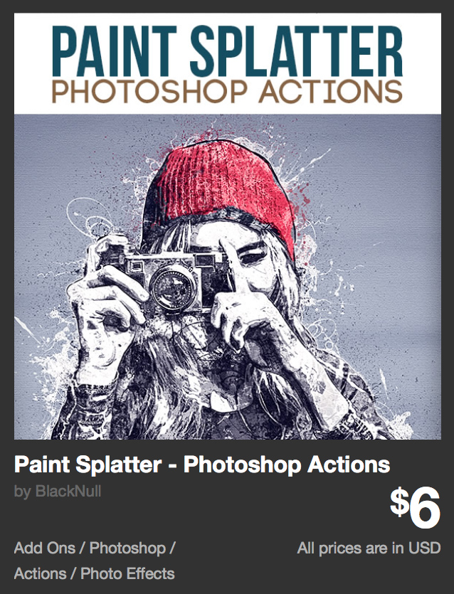Paint Splatter - Photoshop Actions by BlackNull | GraphicRiver http://bit.ly/2jV7Pra