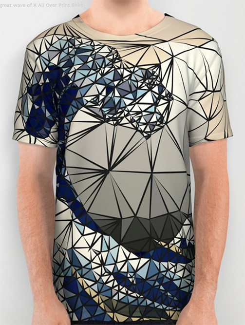 Lowpoly - The great wave of K All Over Print Shirt by angeldecuir | Society6