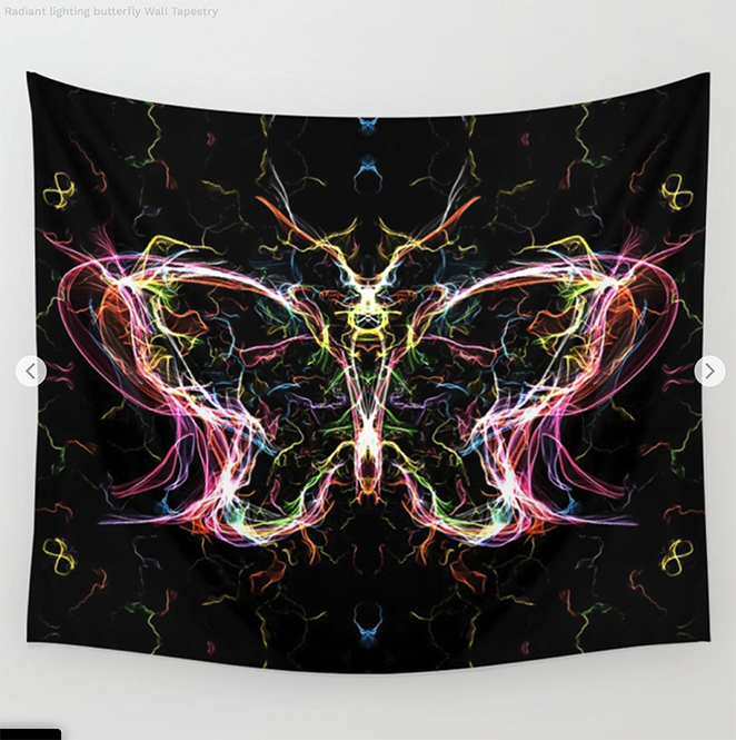 Radiant lighting butterfly Wall Tapestry by angeldecuir | Society6