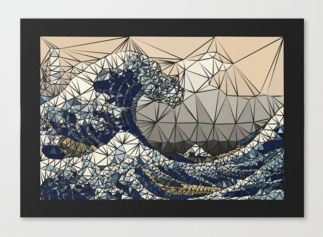 Lowpoly - The great wave of K Canvas Print by angeldecuir | Society6