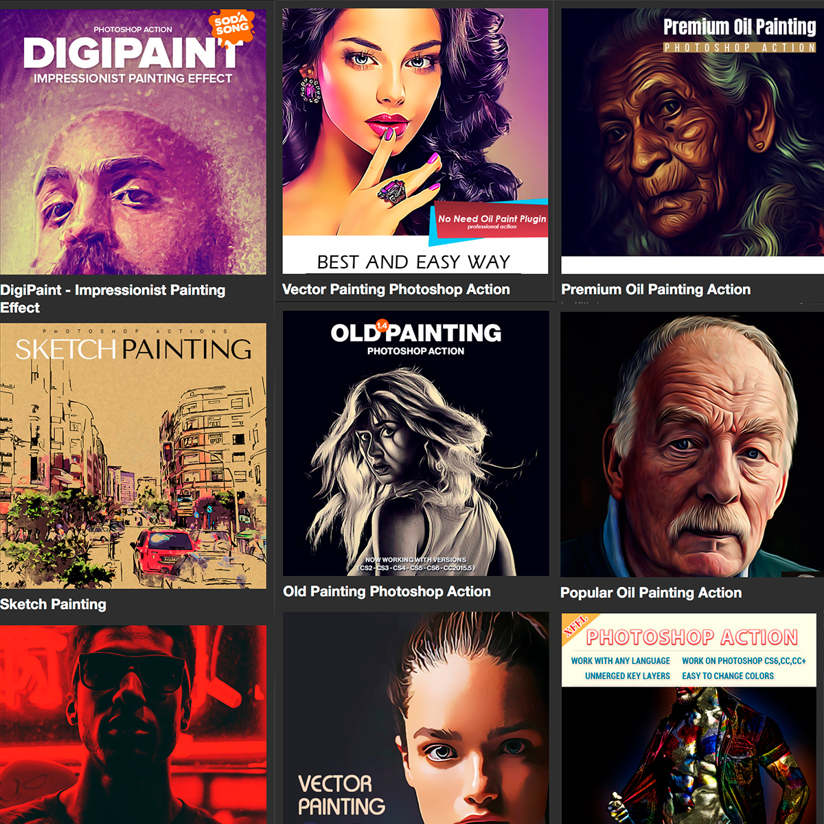 Geniales Add-ons painting de Photoshop actionss
