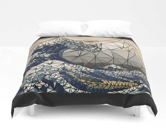 Lowpoly - The great wave of K Duvet Cover by angeldecuir | Society6