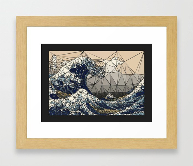 Lowpoly - The great wave of K Framed Art Print by angeldecuir | Society6