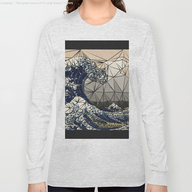 Lowpoly - The great wave of K Long Sleeve T-shirt by angeldecuir | Society6