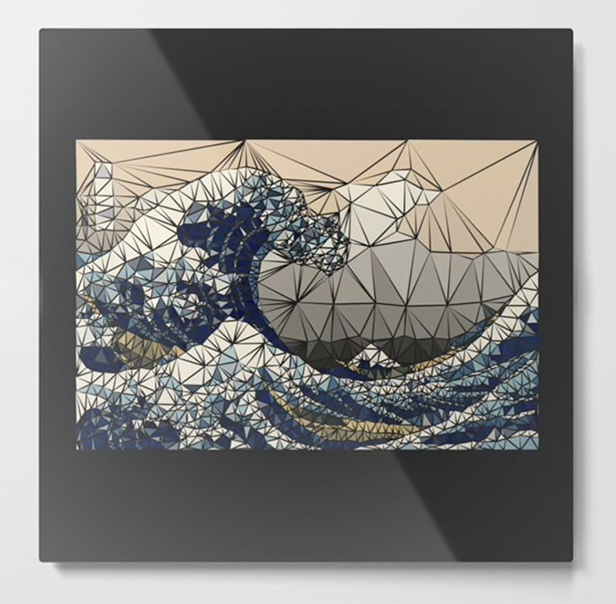 Lowpoly - The great wave of K Metal Print by angeldecuir | Society6
