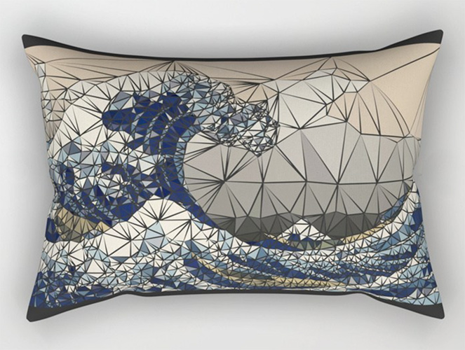 Lowpoly - The great wave of K Rectangular Pillow by angeldecuir | Society6
