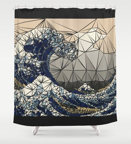 Lowpoly - The great wave of K Shower Curtain by angeldecuir | Society6