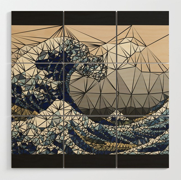 Lowpoly - The great wave of K Wood Wall Art by angeldecuir | Society6