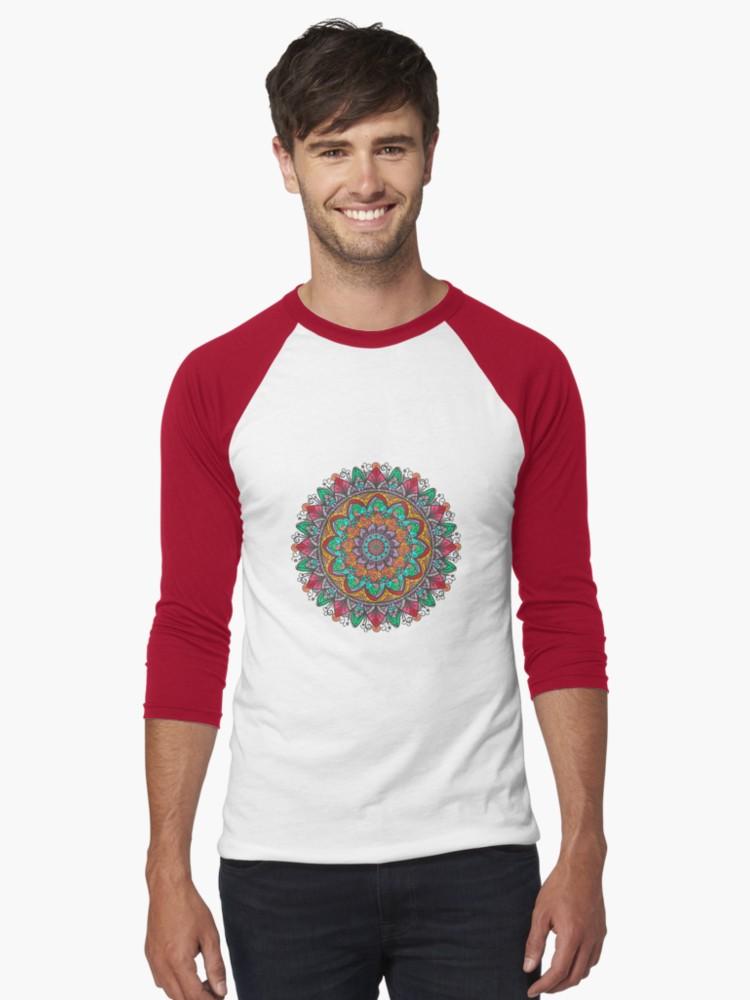 Camisetas bicolor con manga ¾ para hombre «Great Mandala Hand Made 1» de angeldecuir | Redbubble