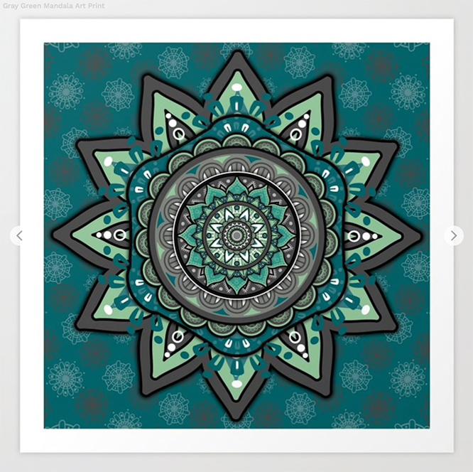 Gray Green Mandala Art Print by angeldecuir | Society6